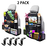 MIBOTE-UK Car Backseat Organizer 2 Pack 11 Storage Pockets Kick Mats Organiser with 10' Touch Screen Tablet...
