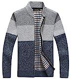 chouyatou Men's Classic Band Collar Full Zip Color-Block Stripe Cable Knitted Cardigan Sweater Coat (Large, Grey)