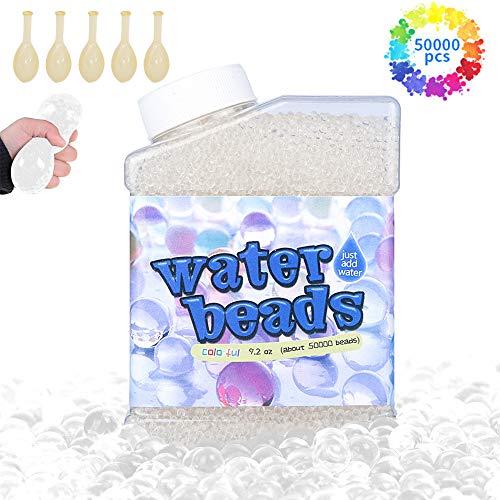Meilo 50,000 PCS Bolas de Gel de Agua, Perlas de Gel para decoración(Transparent), Plantas, Flores, Mezclados cristalino Hidrogel Bolas de Gel para Decoración(5 Globos Extra)
