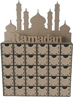 EA-STONE Eid Mubarak Ramadan Decorations,Wooden MDF Eid Mubarak Advent Calendar Muslim Islamic Decorations Ornament Gift DIY