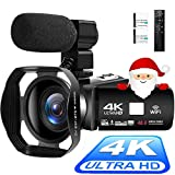 Videocámara 4K Cámara de Video Digital Ultra HD 48MP WiFi Videocamara para Youtube Pantalla...
