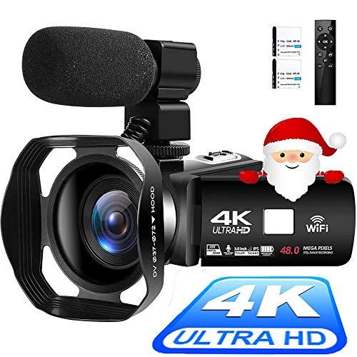 Videocámara 4K Cámara de Video Digital Ultra HD 48MP WiFi Videocamara para Youtube Pantalla táctil de 3.0 Pulgadas Videocámara con Zoom Digital 18X con Micrófono, Control Remoto y Parasol
