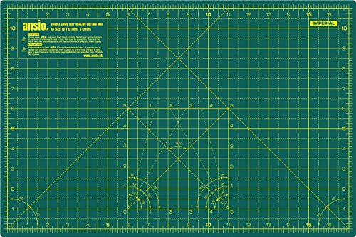 ANSIO Craft Cutting Mat Self Healing A3 Double Sided 5 Layers - Quilting, Sewing, Scrapbooking, Fabric & Papercraft - Imperial/Metric 17 Inch x 11 Inch / 42cm x 27cm - Green/Green