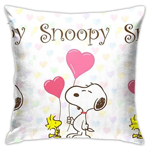 baowen Snoopy Heart Throw Pillow Covers Fundas de Almohada Decorativas 18x18 Pulgadas
