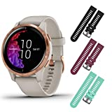 Garmin Venu GPS Smartwatch with AMOLED Display and Included Wearable4U 3 Straps Bundle (Light Sand/Rose Gold, Black/Berry/Teal)