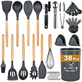 Docgrit Kitchen Utensil Set- 38 PCs Cooking Utensils with Oven Mitts,Tongs, Spoon Spatula &Turner Made of Heat Resistant Food Grade Silicone and Wooden Handle