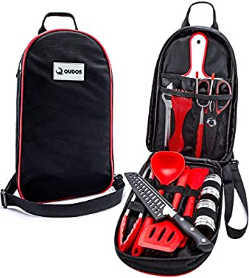Cooking & Grilling Utensil Organizer Travel Set & Carry Case, Portable Silicone Camping Utensils & Kitchen Accessories, Cookware Equipment Kit and Chopping Board, Scissors & Camp Knife, Grill Supplies