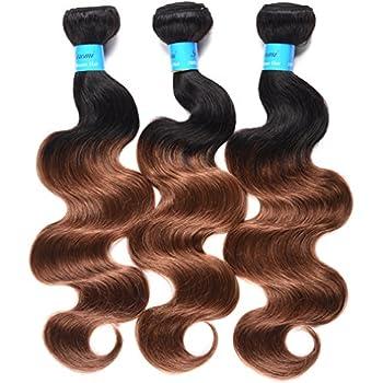 T1B/30 Ombre Brazilian Body Wave 3 Bundles Medium Brown Two Tone Color Human Hair Weave T1B/Medium Auburn Virgin Brazilian Hair  12 14 16 inch T1B/30