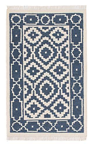 Second Nature Online Samarkand Kelim-Teppich, geometrisch, grob, flach, Wolle, Baumwolle, klein, mittel, groß oder lang, Fair Trade 75cm x 120cm blau