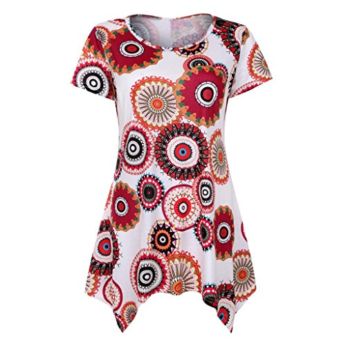 VEMOW Summer Mutter Geschenk Tag Damen Damen Kurzarm Swing Tunika Sommer Floral Flare T-Shirt Top Bluse Shirt Tees Shirt Kleid(Weiß, 40 DE/S CN)