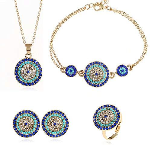 Qiujiam Collar de Cristal de Cristal Colorido Gargantilla Collar y aretes Conjuntos Accesorios de Moda de Bollywood Gargantilla Tradicional Collares Pendientes Joyas para Mujeres