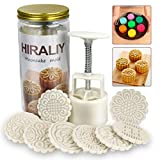 HIRALIY Mooncake Mold Set 8 Stamps with Storage Box, Mid-Autumn Festival Hand Press DIY Moon Cake Maker Cookie Stamps Pastry Tool 1 Mold 8 Pcs Flower Mode Pattern