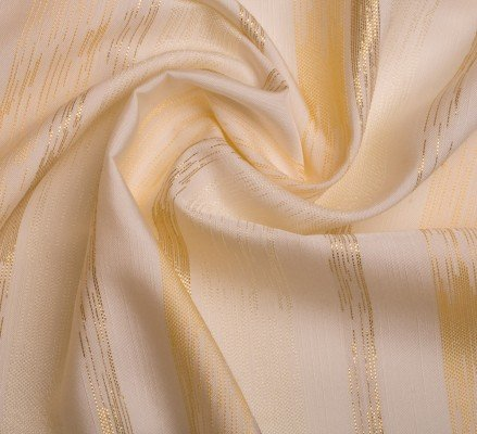Mixibaby Übergardinenstoff in Cream - Gold Ton mit Breiten Goldenen Streifen