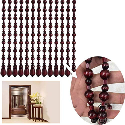 25 Shares Wood Beaded Curtains Door String Bead Curtain for Doorways,Wooden Beaded Curtains Room Dividers for Closet (Width: 80-100cm/24″-31″),Red,White,Golden,Brown