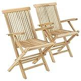 Divero GL05037_SL Stuhl 2er-Set Gartenstuhl Terrassenstuhl Klappstuhl aus Teak-Holz Hochlehner mit Armlehnen klappbar massiv unbehandelt Natur