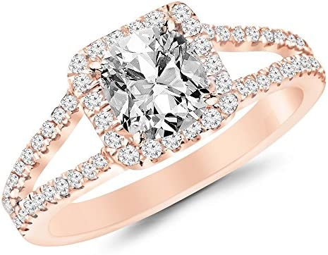 1.02 CTW Halo Style Double Row Pave Set Designer Diamond Engagement Ring w/ 0.57 Ct GIA Certified Cushion Cut F Color VS2 Clarity Center