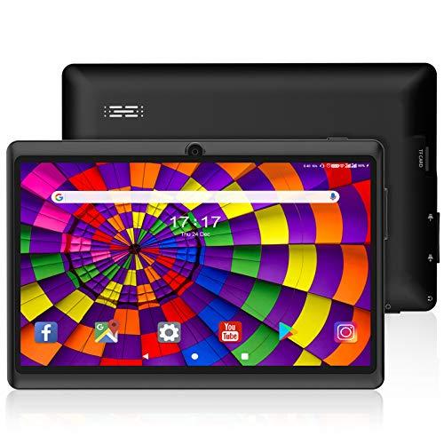 Tablet 7 Inch Android 10.0 Tableta de 7 Pulgadas Google Android 10.0 Quad Core 1024 x 600 cámara Dual WiFi Bluetooth FM 16 GB Play Store Netflix Skype Juego 3D, Certificado por Google GMS (Negro)