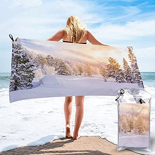 Zrsdfjgiosrj Toallas de baño, Toalla de Viaje de Secado rápido, Toalla de Deporte, abetos con Amanecer Invierno, súper Absorbente, compacta, Ligera, 80 x 160 cm