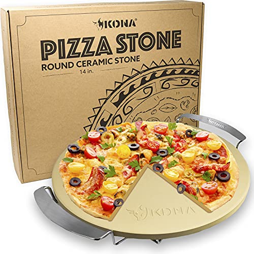 KONA GOURMET 14 ROUND CORDIERITE PIZZA STONE METAL SUPPORT STAND