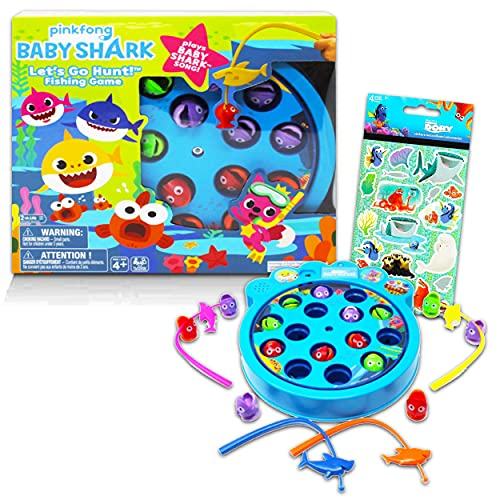 Baby Shark Fishing Toy Bundle ~ Baby Shark Fishing Game | Baby Shark Toys for Toddlers with Finding Dory Stickers (Baby Shark Games for Birthday Party)