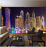 Zybnb 3D Papel Tapiz Fotográfico Vista Nocturna De Dubai Edificio De La Ciudad Mural De La Pared Papeles De Pared Decoración Para El Hogar Sala De Estar De Fondo Pintura De La Pared