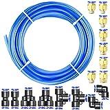 Tailonz Pneumatic Azul 8mm OD 5mm ID Poliuretano Pu Manguera De Aire Kit De Tubo 10 Metros 32.8 Pies