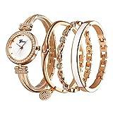 Clastyle Conjunto de Reloj y Pulsera Mujer Elegante Relojes para Mujer con 3 Brazaletes Moda Relojes de Pulsera Cristal Oro Rosa