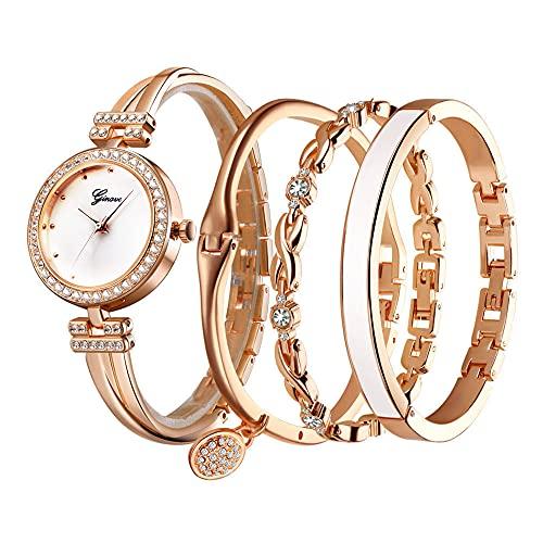 Clastyle Uhren Set Damen Elegant Strass Rosegold Armbanduhr mit 3 Armreifen Perlmutt Damenuhren mit Edelstahl Armband