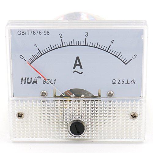 Heschen 85L1-5A Stromzähler / Amperemeter, rechteckig, zur Montage an der Platte, AC 0-5 A, Klasse 2,5, Weiß