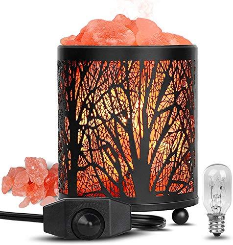 NBALL-TT Salz-Rock-Lampe Hand Geschnitzte rosa Dekorationslampe Wald-Eisen-Nachtlicht mit Dimmerschalter und -lampen für Schreibtisch, Schlafzimmer, Wohnzimmer
