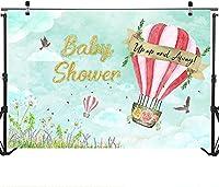 新しい熱気球のベビーシャワーの背景7x5ftビニール生地アップアンドアウェイ男の子の旅行をテーマにしたベビーシャワーのパーティーの装飾冒険は写真の背景を開始します