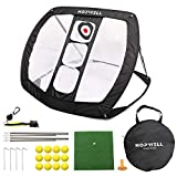 HOPWELL Golf Chipping Net - Golf Game Accessories with Hitting Mat, 12 Foam Practice Balls, 1 Club Brush, 1 Rubber Tee and 1 Carry Bag - Games for Indoor and Yard