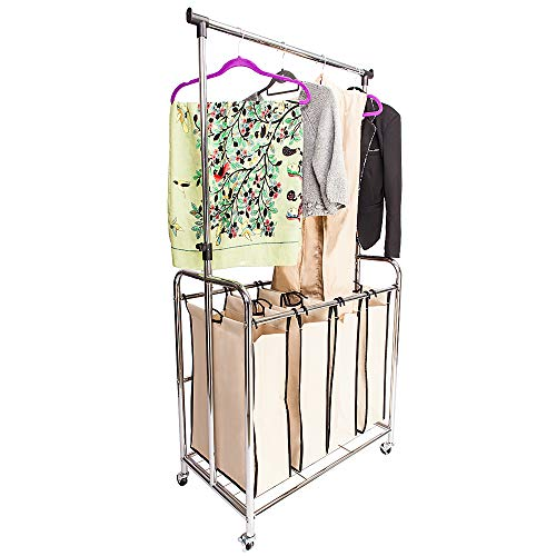 Rong Electroplate Laundry Sorter with Hanging Bar Silver Edge & Beige