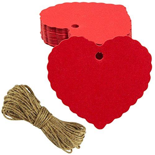 EDGEAM 100er Kraft Papier Geschenk Anhänger Etikette mit Jute Schnur f. Weihnachten Hochzeit Geburtstag Party Decor (Rot)