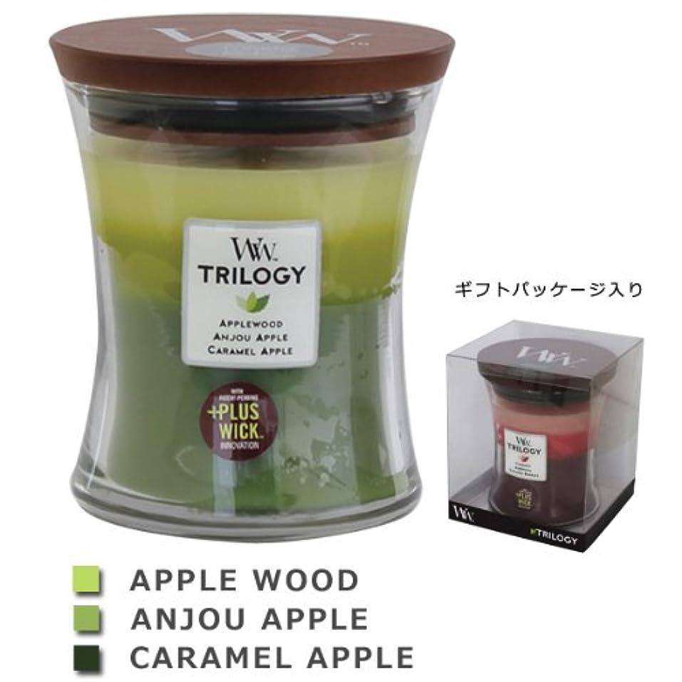 神話地下室寸前Wood Wick ウッドウィック トリロジージャーキャンドルMサイズ アップル