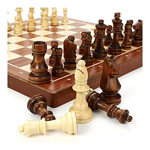 Flystoo Juego de ajedrez Plegable de Madera Conjuntos de ajedrez a Mano, Piezas de Madera Maciza, Conjunto de ajedrez, Juego de ajedrez de Viaje Conjunto (Color : A)