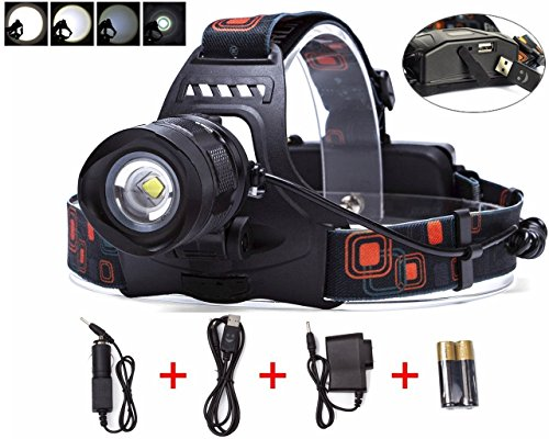 BESTSUN 2000 Lumens 5 Modes Zoomable Rechargeable LED Headlamp, Bright Hands Free Head Flashlight with USB Output for Hunting Fishing Riding Camping Walking Dog, 18650 Batteries and Charger Included