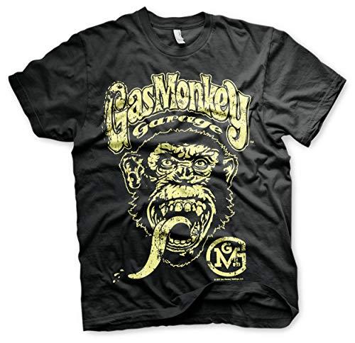 Gas Monkey Garage Oficialmente Licenciado Logo Camiseta para Hombre (Negro)