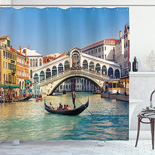 ABAKUHAUS Venedig Duschvorhang, Sonniger Tag in der Stadt-Reise, mit 12 Ringe Set Wasserdicht Stielvoll Modern Farbfest & Schimmel Resistent, 175x180 cm, Mehrfarbig