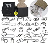 Intermediate Difficulty -28 Pieces Thicker Metal Wire Brain Teaser - Assembly & Disentanglement Puzzles Toys - Magic Trick Toys Puzzles Set - Ideal Gifts Kids Adults