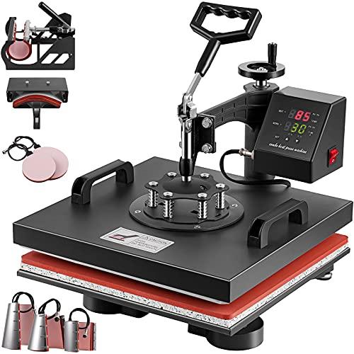 SmarketBuy Heat Press Swing Away 15x15 Inch Heat Transfer Machine, 8 in 1 T Shirts Press Hat Press Mug Press Plate Press