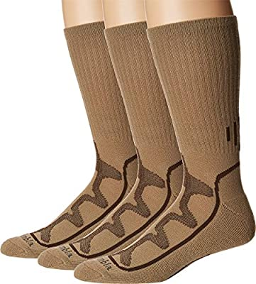 Columbia Poly Mesh Vent Cush Crew Socks, 3-Pair (Shoe Size 6-12 US Men's), Khaki/Brown