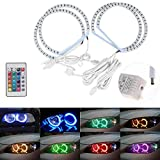 WonVon 2pc Angel Eyes Multi-Color RGB LED Halo Rings Lights with Remote Control Color Changing Halo for BMW E36 3 series E38 7 series E39 5 series E46 3 series