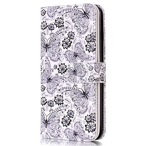 Surakey Cover Compatibile con Samsung Galaxy Grand Neo Plus i9060, Flip Libro Custodia Magnetica Portafoglio Wallet Case con 9 Tasche per Carte Funzione Stand Protettiva Cover,Farfalla Nero