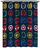 Jay Franco Marvel Avengers Shields Duschvorhang und leicht zu pflegener Stoff Kinder-Badevorhang mit Captain America, Iron Man, Thor und Spiderman (offizielles Marvel-Produkt)