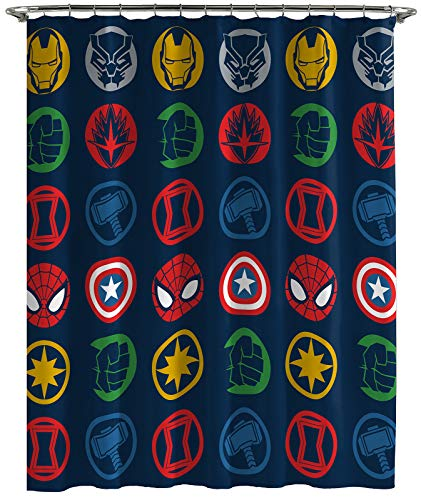 Jay Franco Marvel Avengers Shields Shower Curtain & Easy Care Fabric Kids Bath Curtain Features Captain America, Iron Man, Thor, & Spiderman (Official Marvel Product)
