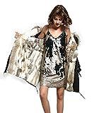 Lea Marie Parka XXL para mujer con cuello de 100% pelo auténtico, chaqueta de piel de conejo, color beige, nude, marrón, largo, forro de pelo de conejo, 6 variantes Negro S