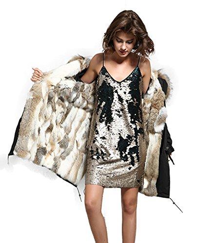 Lea Marie Damen Parka XXL Kragen aus 100% ECHTPELZ ECHTFELL Jacke Mantel Beige Nude LANG Kaninchenfell Futter 2 Varianten (Schwarz, XL)
