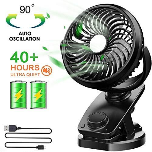 Oplaadbare ventilator Mini-bureauventilator Draaibaar, 4 snelheden USB Persoonlijke ventilator Draagbare kleine tafel Stille ventilator,voor reizen Camping Office Home (zwart)