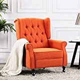 Altrobene Modern Recliner Chair, Fabric Accent Arm Chair with Tufted Wingback for Living Room/Bedroom/Office/Home Theater, Orange